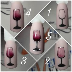 How to draw a glass of wine on the nails # fashionlife . - How to draw a glass of wine on your nails # fashionlife - Manicure Nail Designs, Nail Manicure, Gel Nails, Nails Design, Nail Art Hacks, Gel Nail Art, Nail Polish, Nail Art Designs Videos, Nail Art Videos