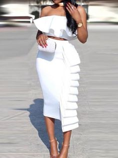 African Fashion Falbala Sleeveless Patchwork Women's Bodycon Dress Plain Dress, Mode Chic, Two Piece Dress, White Outfits, Dope Outfits, White Fashion, Occasion Dresses, African Fashion, African Style