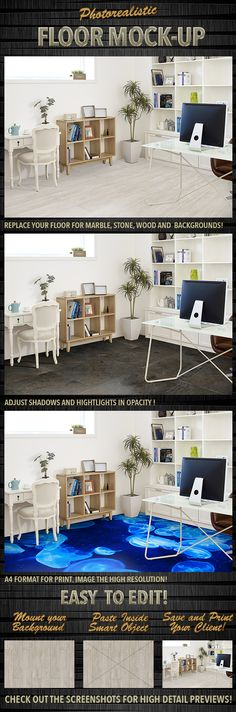 Photorealistic Floor #Mock-Up - #Presentation #Templates Download here:  https://graphicriver.net/item/photorealistic-floor-mockup/20144796?ref=alena994