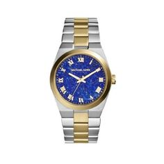 Michael Kors Channing Blue  Lapis Dial Two-tone Ladies ($97) ❤ liked on Polyvore featuring jewelry, watches, blue jewelry, quartz movement watches, roman numeral watches, 2 tone watches and blue watches