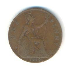 Vintage Coin George V Penny 1919 Code: RSC1865 by JMCVintagecards