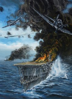 Sinking of the Akagi at Midway Ww2 Aircraft, Aircraft Carrier, Military Aircraft, Poder Naval, Military Drawings, Imperial Japanese Navy, War Thunder, Aircraft Painting, Airplane Art