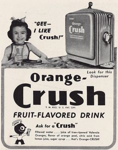 "1946 Orange Crush ad featuring my Grandmother Patricia ""Patti"" Anne Murray Retro Ads, Vintage Advertisements, Vintage Ads, 70th Birthday Parties, Mum Birthday, Coca Cola, Soda, Valencia Orange, Vintage Soul"