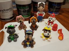 Fondant Paw Patrol Pups toppers - Police pup Chase,  Cute, smart Cockapoo puppy Skye, Firedog Marshal, Construction Bulldog Rubble, water-loving Labrador Rescue pup Zuma & Mixed Breed recycling Rocky Plus PAW Patrol's Leader Ryder