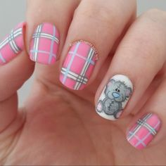 teddy bear and tartan nails nail art by Funky fingers nail art Plaid Nail Art, Plaid Nails, Uñas Diy, Sommer Make Up, Hot Nail Designs, Funky Fingers, Finger Nail Art, Disney Nails, Hot Nails