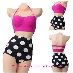 Sexy High Waisted Swimwear Women Vintage Retro Swimsuit Push Up Bikini Sets  High Waist Bathing Suits on Etsy, $11.20