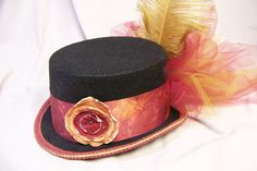 Items similar to OOAK Victorian steam punk riding hat full size TOP HAT cosplay Costume Burgundy tied died band on Etsy Burgundy Tie, Riding Hats, Top Hats, Tie Dyed, Headpieces, Steam Punk, Cosplay Costumes, Victorian, Dance