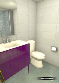 Infografía 3d para propuesta de baño en reforma de piso en Gijón www.nddiseno.es