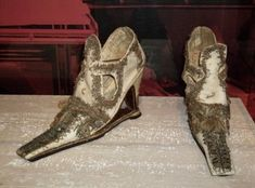 Slap-soled shoes belonging to Frances Walsingham, lady in waiting to Elizabeth I, and daughter of her spymaster, Francis Walsingham.