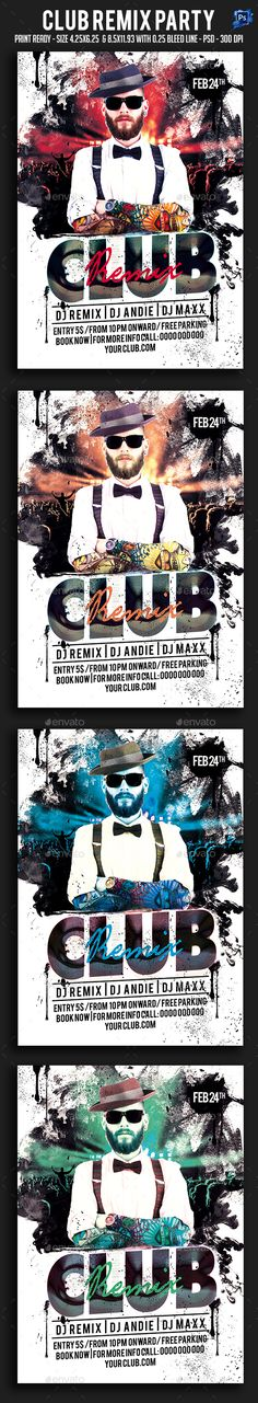 Club Remix Party Flyer — Photoshop PSD #artist #house dj • Available here → https://graphicriver.net/item/club-remix-party-flyer/19450286?ref=pxcr