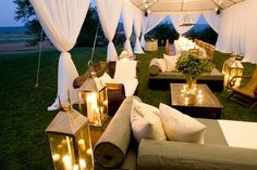 Lounge seating area with lanterns.  Get Inspired...Check out our blog for the other top 4 wedding themes of 2014 http://www.classicveils.com/blogs/classic-veil-tidbits/10964189-5-top-wedding-themes-for-2014