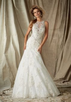"""Diamante Beaded Alencon Lace on Tulle Bridal Dress. Beautiful High Halter with Illusion Neckline. Colors available: White and Ivory. Lengths: 55"""", 58"""" and 61""""."""