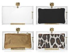 Charlotte Olympia Pandora Plexiglas clutch with interchangeable pouches | 4 looks in 1
