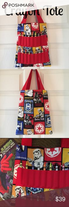 "Star Wars Full Size Crayon Tote NWT! Star Wars Character print full size crayon tote. NWT! Size is approx 12"" x 10"". Includes one coloring book and 18 crayons! Smoke free home. This would make a great soon to be big brother gift! Also great for public quiet time such as libraries, doctor's office etc. Accessories Bags"