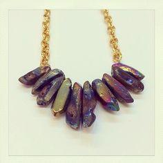 Crystal quartz handmade gold chain. Definite statement necklace! Handmade in NZ by Shhbysadie.com