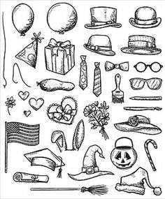 "TIM HOLTZ: Crazy Things  ( 7"" x 8-1/2"" Unmounted Rubber Stamp Set)  This package contains Crazy Things: thirty-two image stamps. **Coordinates with Bird Crazy s"