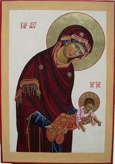 The Theotokos giving Jesus to the world and Jesus opening his arms embracing the world. Religious Icons, Religious Art, Fortune Cards, Images Of Mary, Religious Paintings, Byzantine Icons, Holy Mary, Madonna And Child, Catholic Art