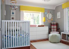 Soft gray nursery with bright accents.  This is my inspiration room for baby girl!
