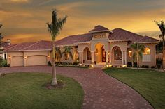 Mediterranean House Plan: Luxury Home Floor Plan with Tuscan Design - The Villa Napoli is an elegant single story Mediterranean house plan of just under square feet. Beautiful ceilings…More Luxury Mediterranean Homes, Mediterranean House Plans, Luxury Homes, Mediterranean Decor, Mediterranean Architecture, Tuscan Style Homes, Spanish Style Homes, Spanish House, House Plans One Story