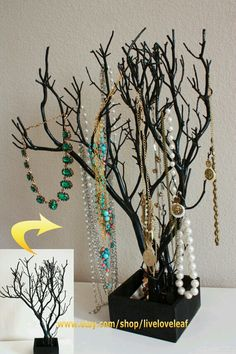Black painted Manzanita branch turned Jewelry tree /jewelry organizer /jewelry display #black #manzanita #branch #accessory #holder #display #jewelrytree #jewelryholder #jewelryorganizer #necklaceorganizer #necklaceholder #necklacedisplay