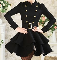black and gold coat dress