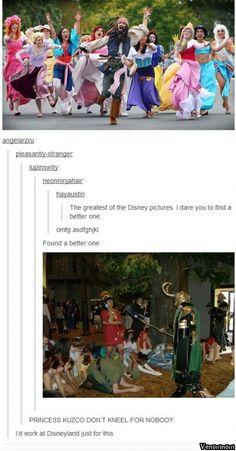 """Princess Kuzco don't kneel for nobody"" - not even Loki"