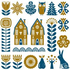 Folk Embroidery Patterns Scandinavian folk art seamless vector pattern with gold and blue flowers, trees, rabbit, owl, houses with decorative elements and rural scenery in simple style - Scandinavian Embroidery, Scandinavian Pattern, Scandinavian Folk Art, Scandi Art, Nordic Art, Hand Embroidery Patterns Free, Embroidery Flowers Pattern, Bird Embroidery, Indian Embroidery