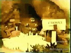 GIF I made from the McDonaldland themed McDonald's commercial from the early 70s, found easily on youtube, featuring EVIL GRIMACE, titled in this scene as E. Grimace. The original character featured 4 arms, usually carrying the stolen milkshakes of which he embodies. See more at Filming in McDonaldland!