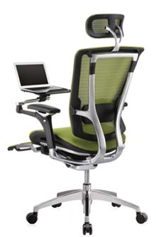 Nefil chair in green mesh with Laptop table and leg-rest support. Polished Aluminium back. Reclining Office Chair, Work Chair, Ergonomic Office Chair, Mesh Chair, Mesh Office Chair, Office Chairs, Best Pc Setup, Chair Parts, Stylish Chairs
