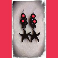Soutache earrings with lava seastar and neon red swarovski pearl
