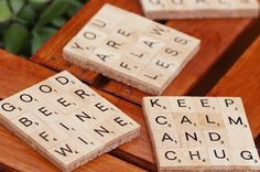 Ahh, Scrabble, a game most-hated or most-loved. Make some super fun coasters with your favorite letters. | Here's How To Easily Make Scrabble Coasters For Your Next Party