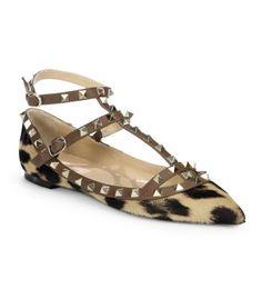 Valentino Rockstud Leopard-Print Calf Hair T-Strap Flats
