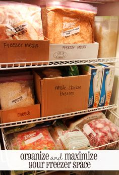 Use shoe boxes to organize foods in your freezer. | 27 Clever Ways To Use Everyday Stuff In The Kitchen