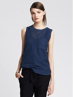 Eyelet Pocket Tank -- I like that the allover eyelet adds textural and visual interest to this tank.