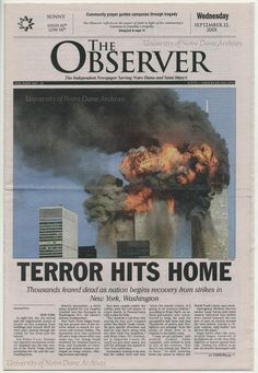 September 11, 2001 Attacks | page of the Observer after the September 11, 2001, terrorist attacks ...