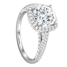 Swarovski Engagement Rings - LORRAINE Cathedral Pavé Engagement Ring with Round Center Stone - LarsonJewelers.com