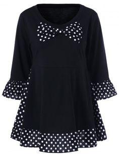 Plus Size Polka Dot Ruffled Bowknot T-Shirt(Peasant Top Refashion) Top Fashion, Plus Size Fashion, Fashion Site, Fashion Men, Plus Size Shirts, Plus Size Tops, Sewing Clothes, Diy Clothes, Polka Dot T Shirts