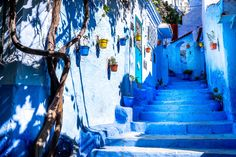 2014, Morocco, Chefchaouen. Famous saturated street in Chefchaouen.