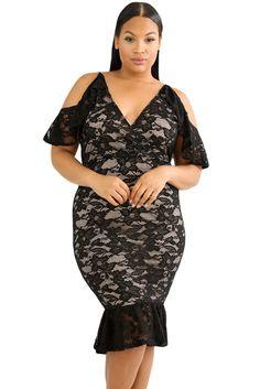 0d4a53de91e Black Plus Size Cold Shoulder Lace Bodycon Dress. Midi DressesCasual DressesShort  Sleeve ...
