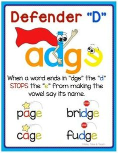 """Teaching the concept of the """"d"""" stopping the """"e"""" from making the vowel say its long sound can be tons of fun when you use the story and graphic of the defender d. Students often find visuals helpful when learning a new skill. Feel free to download this defender d poster."""