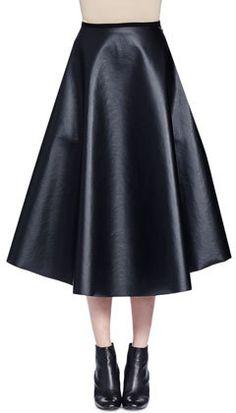 Lanvin Full Leather Midi Skirt, Black