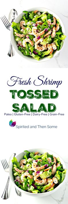 Fresh Shrimp Tossed Salad is gluten-free, paleo, dairy-free, and on so delicious for spring!   spiritedandthensome.com