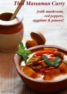Thai Massaman Curry {With Mushroom, Peppers, Eggplant & Paneer}
