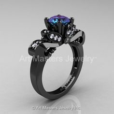 Classic 14K Black Gold 1.0 Ct Alexandrite Diamond by artmasters, $2899.00