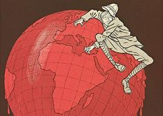 Detail of Englishman and His Globe: Man sliding off of red globe on dark background
