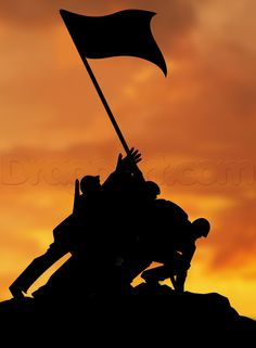 For this tutorial I wanted to celebrate the fourth of July by making the silhouette image of the Raising the Flag on Iwo Jima which is a popular photo Army Drawing, Soldier Drawing, Flag Drawing, Iwo Jima Memorial, Soldier Tattoo, Remembrance Day Art, Indian Army Special Forces, Indian Army Wallpapers, Soldier Silhouette