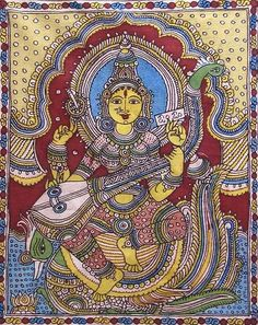 Indian Painting Styles...Kalamkari Paintings (Andhra Pradesh)-goddess-saraswati-qi36_l.jpg