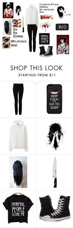 """""""Jeff The Killer (Female)"""" by karachristian52900 ❤ liked on Polyvore featuring Alexander Wang, Uniqlo, J.A. Henckels and Converse"""