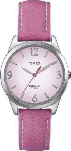 Timex Women's T2N864 Weekender Pink Leather Strap Watch Timex. $28.80. Brushed/Polished Chrome Finish. Genuine Leather Strap. Indiglo® night-light. Water-resistant to 99 feet (30 M). Water-resistant to 30 meters. Save 40% Off!