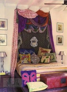 Wish this was my room! Totally thinking about doing a room makeover! ⋴⍕ Boho Decor Bliss ⍕⋼ bright gypsy color & hippie bohemian mixed pattern home decorating ideas - bedroom